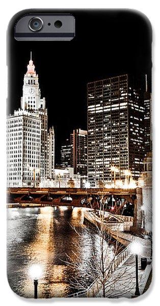 Chicago at Night at Wabash Avenue Bridge iPhone Case by Paul Velgos