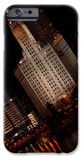 Chicago iPhone Cases - Chicago at Night iPhone Case by Lone  Dakota Photography
