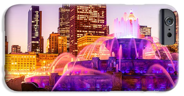 Sears Tower iPhone Cases - Chicago at Night with Buckingham Fountain iPhone Case by Paul Velgos