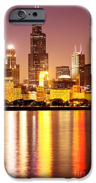 Sears Tower iPhone Cases - Chicago at Night with Willis-Sears Tower iPhone Case by Paul Velgos