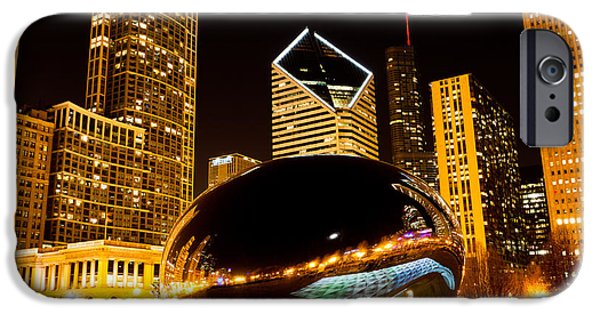 Chicago iPhone Cases - Chicago Bean Cloud Gate at Night iPhone Case by Paul Velgos
