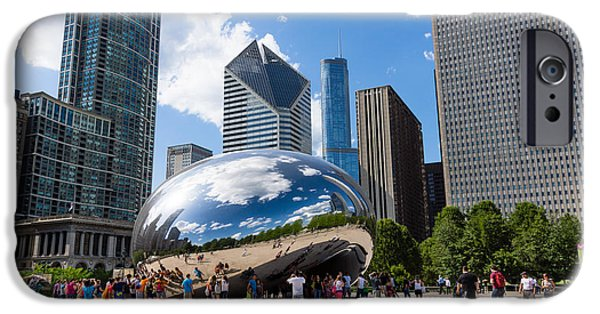 The Bean iPhone Cases - Chicago Bean Cloud Gate with People iPhone Case by Paul Velgos