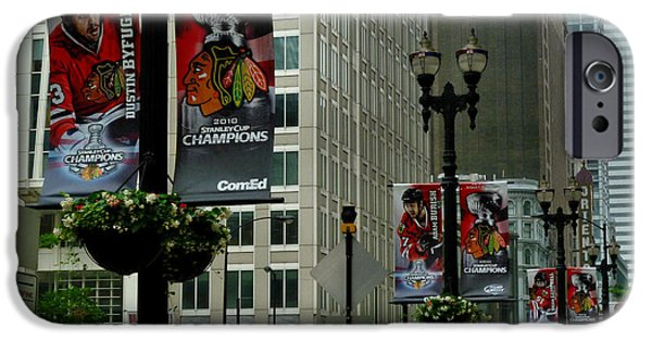 Ely Arsha iPhone Cases - Chicago Blackhawk Flags iPhone Case by Ely Arsha