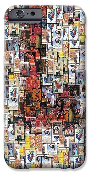 Chicago Bulls Michael Jordan Cards Mosaic iPhone Case by Paul Van Scott