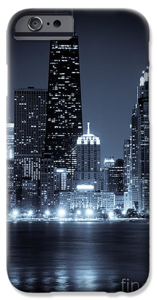 Shoreline iPhone Cases - Chicago Cityscape at Night iPhone Case by Paul Velgos