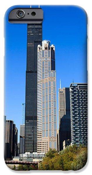 Sears Tower iPhone Cases - Chicago Cityscape with Sears-Willis Tower iPhone Case by Paul Velgos
