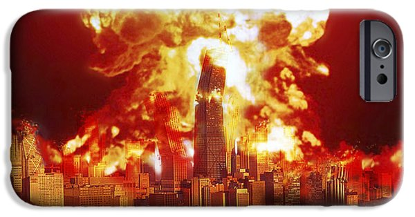 Destiny iPhone Cases - Chicago Disintegrates As A Nuclear iPhone Case by Ron Miller