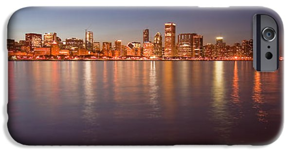 Sears Tower iPhone Cases - Chicago dusk skyline panoramic  iPhone Case by Sven Brogren
