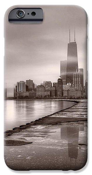 Chicago Foggy Lakefront BW iPhone Case by Steve Gadomski
