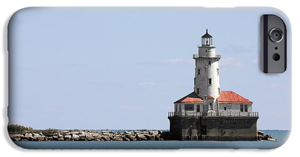 Old Chicago Water Tower iPhone Cases - Chicago Harbor Light iPhone Case by Christine Till