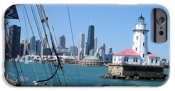 Sailboat Pyrography iPhone Cases - Chicago Harbor Lighthouse iPhone Case by Sonia Flores Ruiz