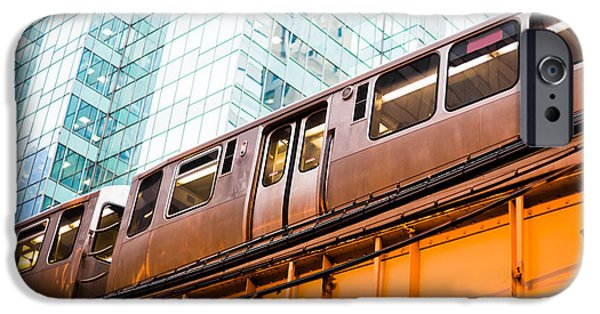 Sears Tower iPhone Cases - Chicago L Elevated Train  iPhone Case by Paul Velgos