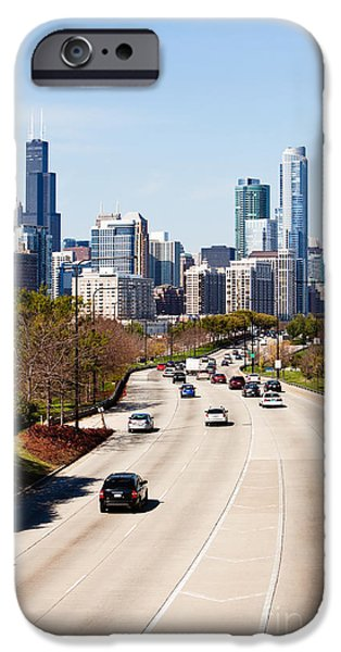 Sears Tower iPhone Cases - Chicago Lake Shore Drive Cars iPhone Case by Paul Velgos