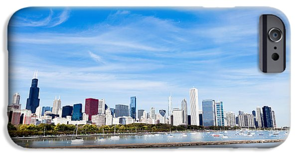 Sears Tower iPhone Cases - Chicago Lakefront Skyline Wide Angle iPhone Case by Paul Velgos