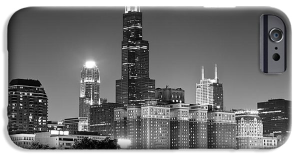 Willis Tower iPhone Cases - Chicago Night Skyline in Black and White iPhone Case by Paul Velgos