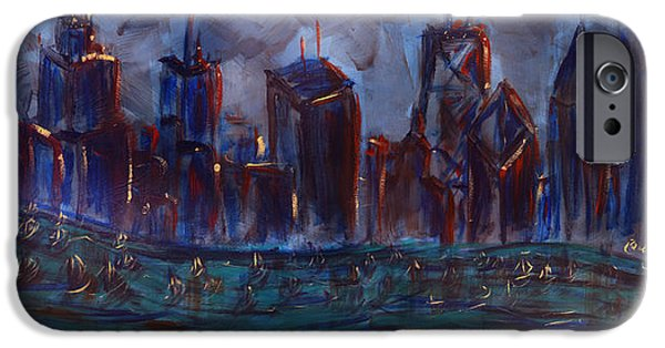 Willis Tower Paintings iPhone Cases - Chicago Night Skyline with Lake Sail Boats on water Buildings and Architecture in Blue Orange Green  iPhone Case by M Zimmerman MendyZ