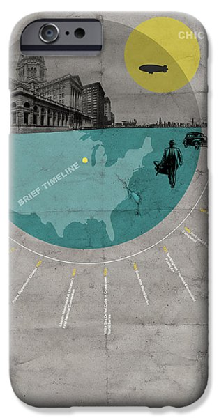 Downtown Mixed Media iPhone Cases - Chicago Poster iPhone Case by Naxart Studio