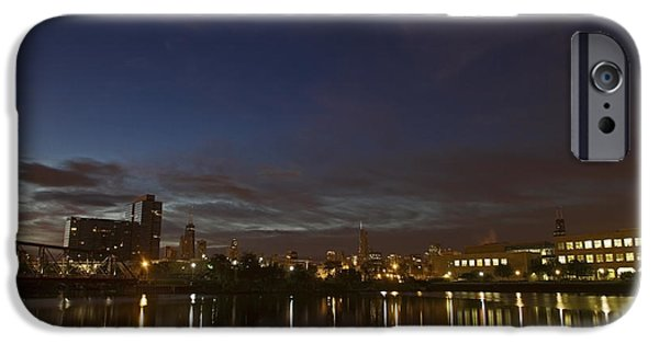 Willis Tower iPhone Cases - Chicago river and skyline at dawn iPhone Case by Sven Brogren