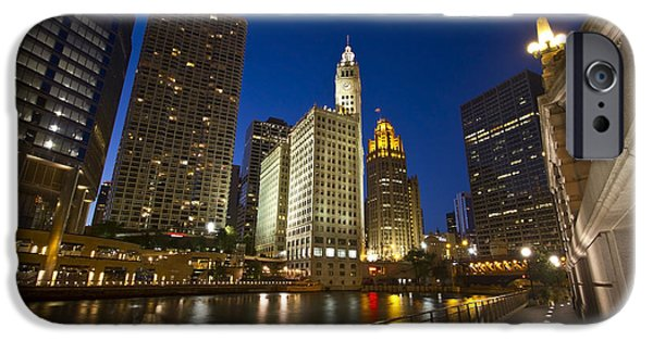 Wrigley iPhone Cases - Chicago river and Wrigley Building iPhone Case by Sven Brogren