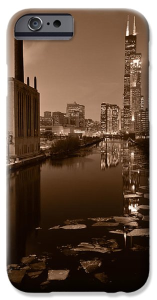Chicago River B and W iPhone Case by Steve Gadomski