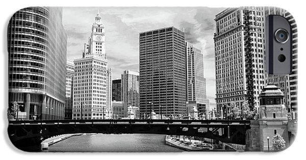 Wrigley Photographs iPhone Cases - Chicago River Buildings Skyline iPhone Case by Paul Velgos