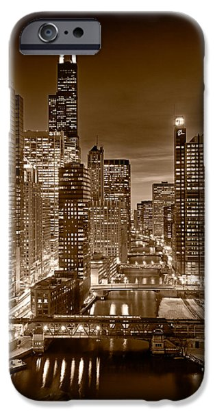 Buildings iPhone Cases - Chicago River City View B and W iPhone Case by Steve gadomski