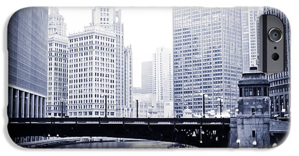 Wrigley iPhone Cases - Chicago River Skyline Black and White iPhone Case by Paul Velgos