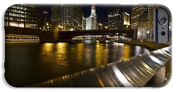 Wrigley iPhone Cases - Chicago riverwalk and reflections iPhone Case by Sven Brogren