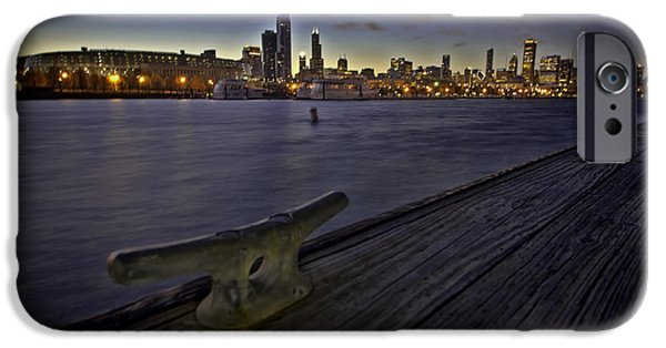Willis Tower iPhone Cases - Chicago skyline and Harbor at dusk iPhone Case by Sven Brogren