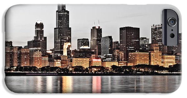 Sears Tower iPhone Cases - Chicago Skyline at Dusk Photo iPhone Case by Paul Velgos