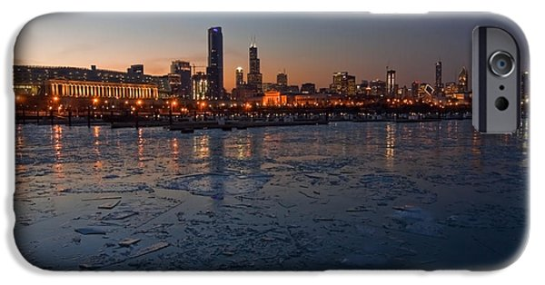 Sears Tower iPhone Cases - Chicago skyline at Dusk iPhone Case by Sven Brogren