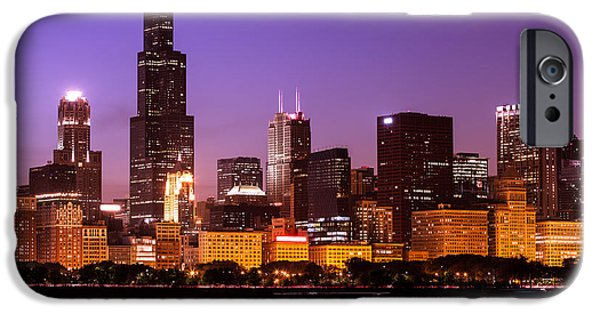 Sears Tower iPhone Cases - Chicago Skyline at Night High Resolution Image iPhone Case by Paul Velgos