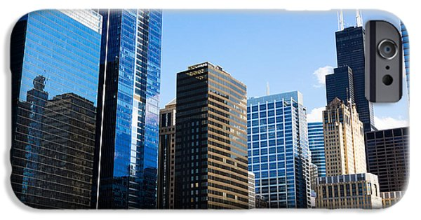 Business iPhone Cases - Chicago Skyline Downtown City Buildings iPhone Case by Paul Velgos