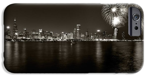 Fourth Photographs iPhone Cases - Chicago Skyline Fireworks BW iPhone Case by Steve Gadomski