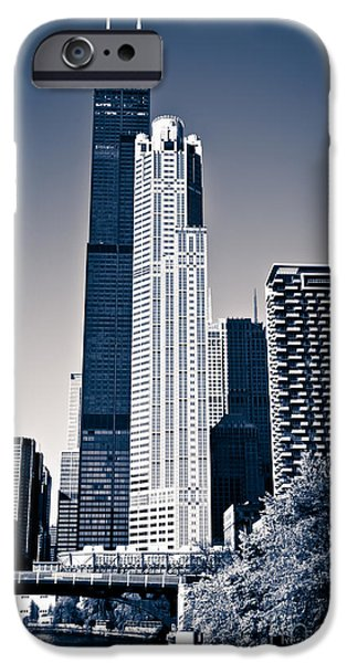 Sears Tower iPhone Cases - Chicago Skyline with Sears-Willis Tower iPhone Case by Paul Velgos