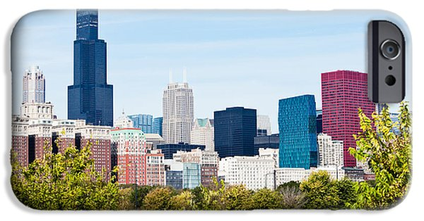 Sears Tower iPhone Cases - Chicago Skyline with Trees iPhone Case by Paul Velgos