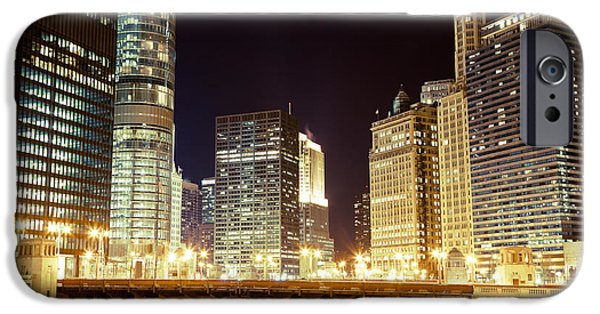 Communication iPhone Cases - Chicago State Street Bridge at Night iPhone Case by Paul Velgos