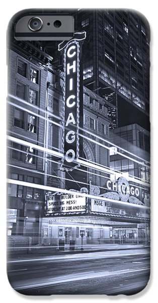 Sears Tower iPhone Cases - Chicago Theater Marquee B and W iPhone Case by Steve Gadomski