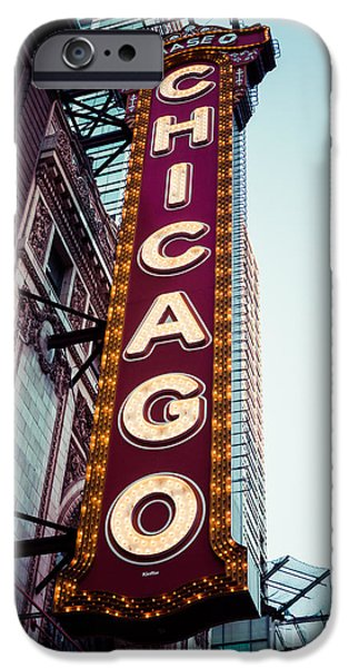 Venue iPhone Cases - Chicago Theatre Marquee Sign Vintage iPhone Case by Paul Velgos
