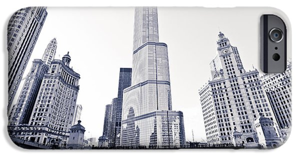Wrigley Photographs iPhone Cases - Chicago Trump Tower and Wrigley Building iPhone Case by Paul Velgos