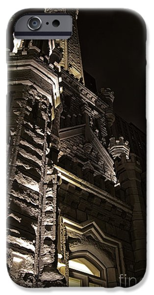 Old Chicago Water Tower iPhone Cases - Chicago Water Tower at Night iPhone Case by Christopher Purcell