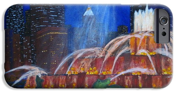 Willis Tower Paintings iPhone Cases - Chicagos Buckingham Fountain iPhone Case by J Loren Reedy