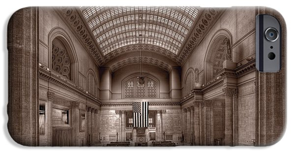 Sears Tower iPhone Cases - Chicagos Union Station BW iPhone Case by Steve Gadomski