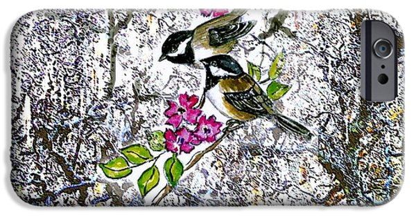 Wintertime Mixed Media iPhone Cases - Chickadees in the Filbert Tree iPhone Case by Norma Boeckler