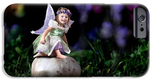 Little Girl iPhone Cases - Child Fairy on Mushroom iPhone Case by Cindy Singleton