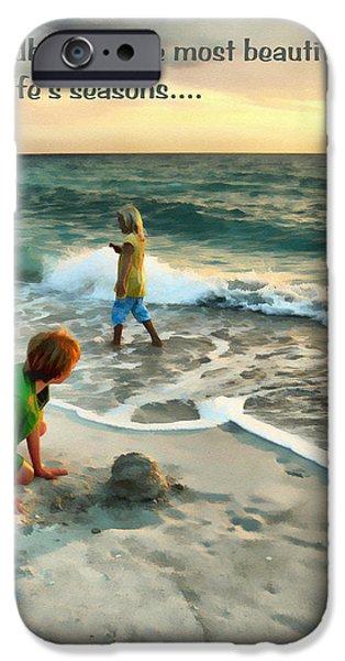 Sand Castles Digital Art iPhone Cases - Childhood iPhone Case by Tom Schmidt
