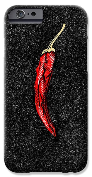 Chilli Pepper, Woodcut iPhone Case by Gary Hincks