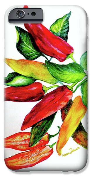 Botanical Pastels iPhone Cases - Chillies From My Garden iPhone Case by Karin Best