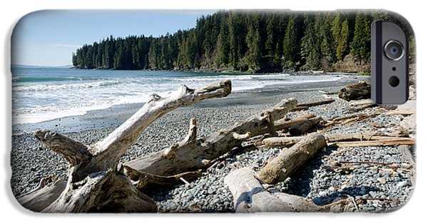 China Beach iPhone Cases - CHINA DRIFTWOOD china beach juan de fuca provincial park BC iPhone Case by Andy Smy