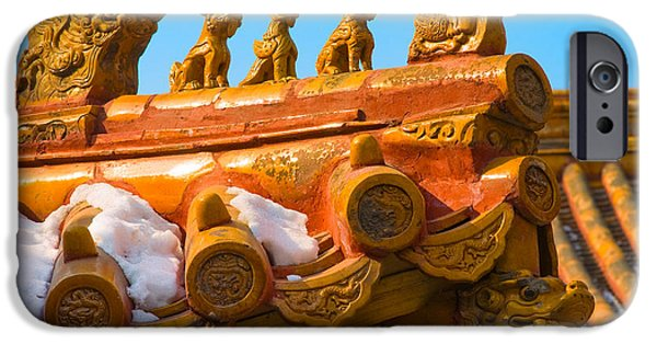 Rooftop iPhone Cases - China Forbidden City Roof Decoration iPhone Case by Sebastian Musial